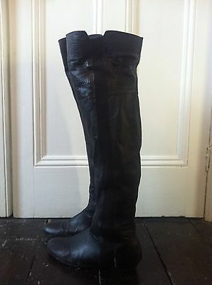 Ladies Black Leather Knee High Boots, Size 5