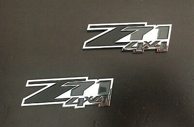 2XABS Black Chrome Z71 4X4 Emblem Sticker Badge Fit GMC Chevy Silverado Suburban