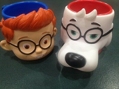 2 X Collectable Mr Peabody & Sherman Mugs Dream Works Used 2014 Movies