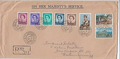 B 376 St Lucia OHMS registered cover Germany; 8 stamps;  53c rate