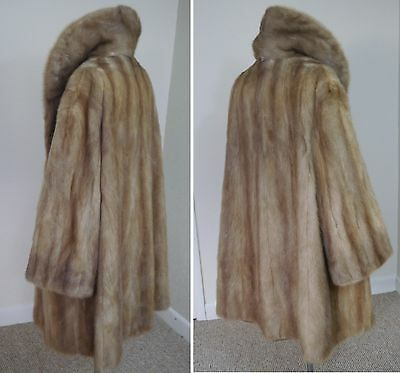 Pastel Dawn Palomino desert light brown mink Real Fur swinger Coat M-L