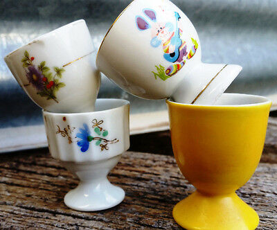 Vintage Retro Egg Cups Lot of 4 - Flowers Rabbit Bone China Made in Japan