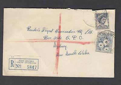 2/- flannel flower registered covers footscray and Port Lincoln oza14