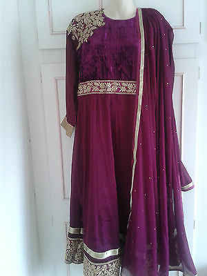 Purple Embellished Indian Suit Bollywood Wedding Dress Evening Party 14/16/18