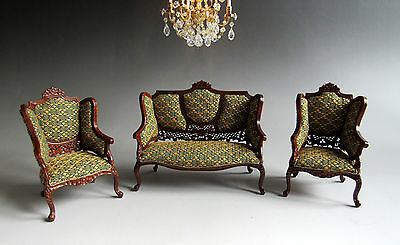 1:12th Scale ~ BESPAQ ~ LOUIS XVI ~ CARVED 3 PIECE SUITE for DOLLS HOUSE