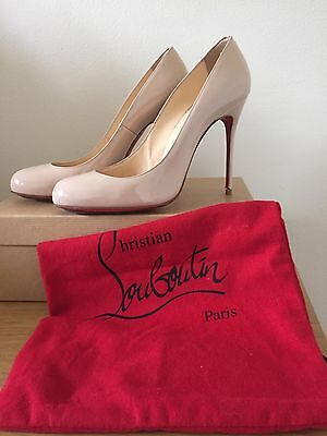 Iconic Christian Louboutin Fifi Nude Patent Leather Heels, Size 39.5 (UK6.5)