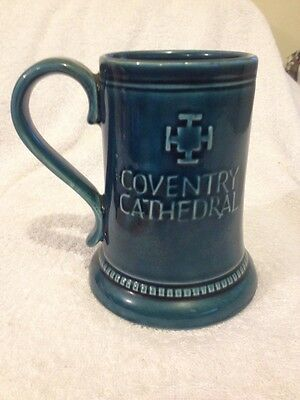 Vintage Prinknash Blue Glaze Commemorative Souvenir Mug Coventry Cathedral