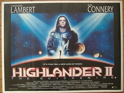 Highlander II: The Quickening (1991) Original S/S UK Quad Poster, Sean Connery