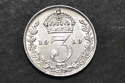 1919 King George V Silver Coin Three Pence.
