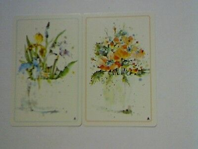 (2) Swap/Playing Cards - Pair Flowers in Vases