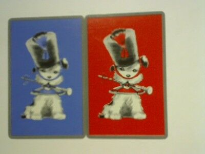 (2) Swap/Playing Cards - Pair Cute Dog Drum Major