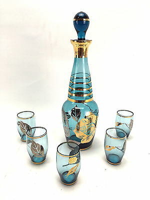 Vintage Blue Glass Shot Glass Set with Genie Bottle and Stopper Gold Flashing