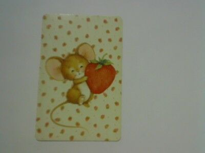 1 Single Swap/Playing Card - Cute Mouse Holding Strawberry