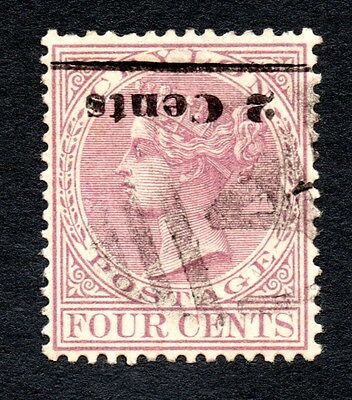 Ceylon. Victoria. Inverted Opt. 2 Cents on Four Cents.  SG  No. 206a.    1888