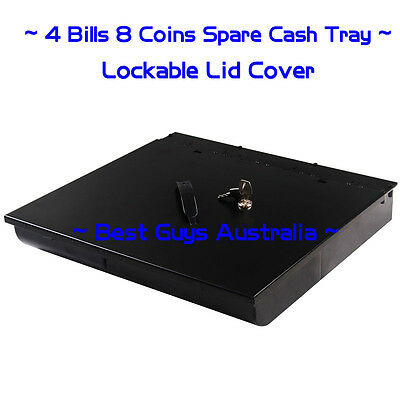 AU Heavy Duty Electronic Cash Drawer Cash Register with Lid POS 4 Bills 8 Coins