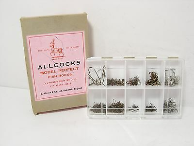 Vintage Allcock Model Perfect Tackle Box & Hooks - New/Old Stock