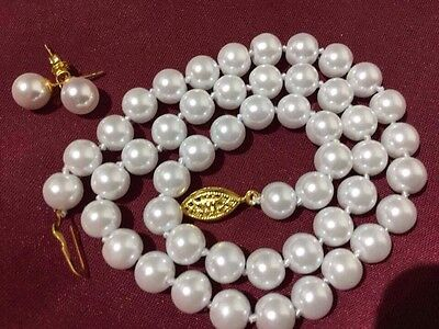 White Cultured Shell Pearl Necklace Earring Set