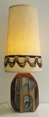 Very Distinctive Vintage 1960's/1970's Troika Style Pottery Table Lamp and Shade