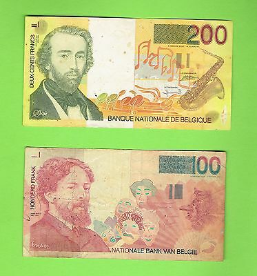 Two Belgium Banknotes,,200 Franc & 100 Franc,,well Used..
