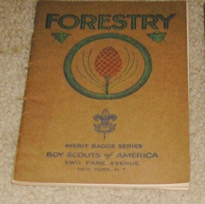 Vtg 1930 1935 Boy Scout Forestry Merit Badge Series Manual Book Brown Paper Cove