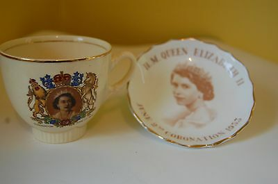 clarice cliff royal coronation cup and tuscan dish queen elizabeth