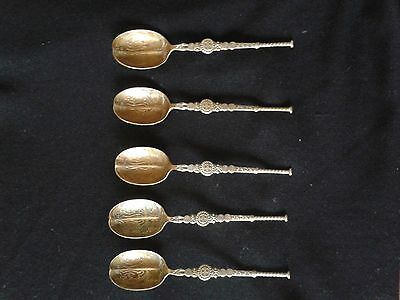 Decorative Spoons - 5, possibly copper? 11 cm long.