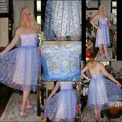 Vintage 50's floral print blue Betty Draper petticoat + co-ord. ALMONT bustier S