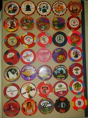 35 x las vegas $5 casino chips from over the last 20 years ($175 worth)
