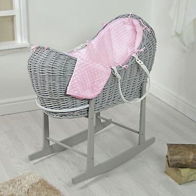 Pink Moses Basket and Stand Rocking Nursery Furniture Baby Sleeping Noah Pod NEW