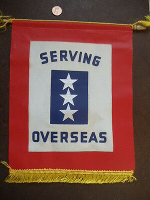 WWII Home Front Serving in U S Wiindow Banner Flag Pennant Overseas 3 Stars