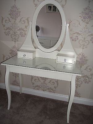Ikea Hemnes White Dressing Table With Oval Mirror & 3 draw crystal handles