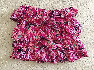 Old NavY girls pink lined flower floral skirt size 10 12 large new