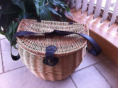 Wicker Fishing Creel / Picnic Basket with Adjustable Shoulder Strap 30 cms Tall