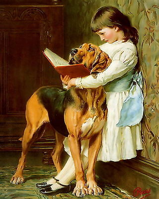 8x10 BRITON RIVIERE Print Victorian Girl Reads to Naughty Boy Pet Bloodhound Dog
