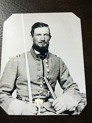 Civil War Confederate Military Captain From Missouri With Sword TinType C704NP