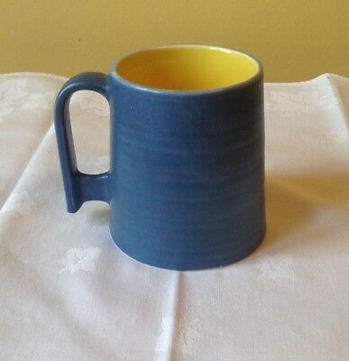 vintage  Bretby Art Pottery mug blue and yellow 1930's