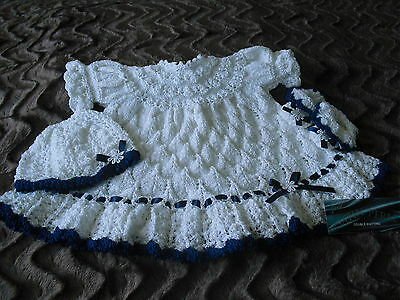 Hand Knitted 3 piece Set in Satin White pearle DK Wool 0-3 Months
