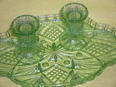 Green glass dressing table pieces, vintage period decor, tray/ candlestick pair