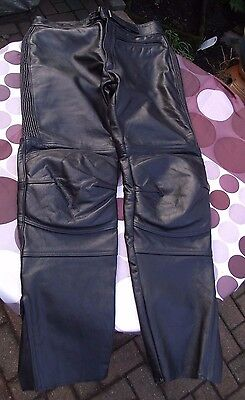 TT Leathers Mens Black Leather Motorcycle Trousers - 34 inch waist