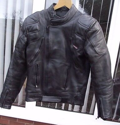 Bikers Gearbox Mens Black Leather Motorcycle Jacket - Marked Size 44