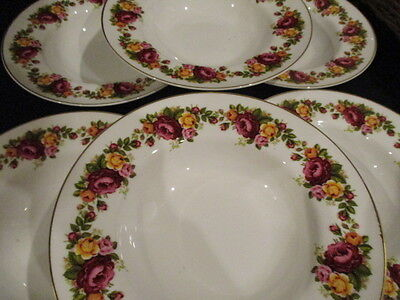 Vintage Roses china 8 inch rimmed Soup bowls x 6 in lovely condition