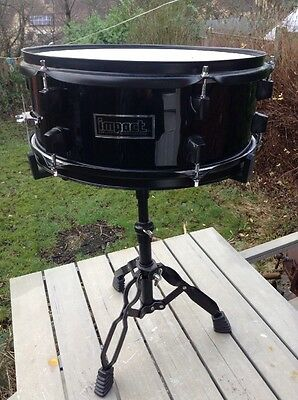 Free P&P. 14x5 Impact Wooden Shell Black Snare Drum w Stand for Drum Kit.