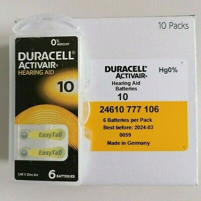 Duracell Activair Mercury Free Size 10 Hearing Aid Batteries x60 Cells