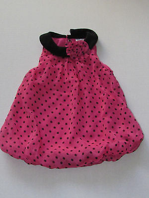 Baby Essentials Pink and Black Polka Dot Dress Size 6 Months