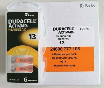 Duracell Activair Mercury Free Size 13 Hearing Aid Batteries x60 Cells