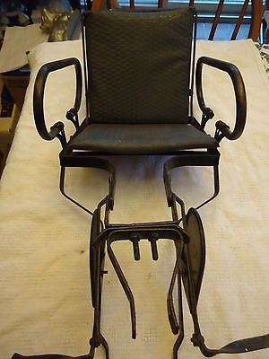 Vintage Metal Bicycle Child Carrier Vinyl Seat Cushion Made in England