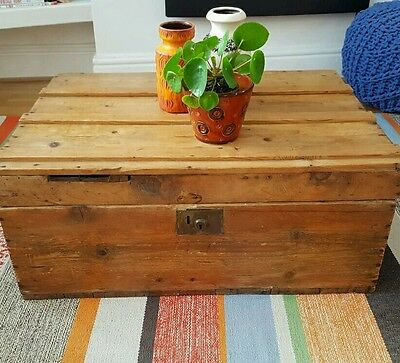 Vintage Antique industrial Pitch Pine Trunk Chest