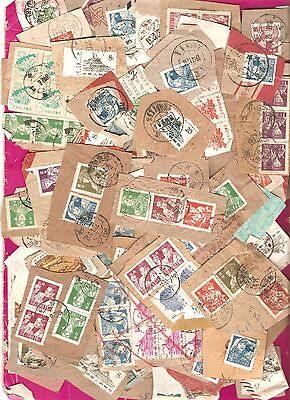 CHINA   ..EARLY  PR   STAMPS    1950  s on pape   r 70  ++  pieces     cancel s