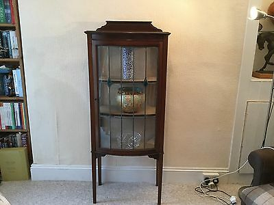 Vintage Bow Fronted China Display Cabinet With Leaded Glass Front
