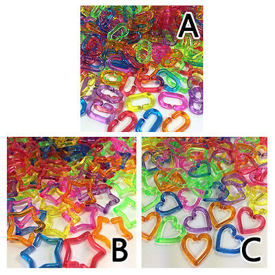 New 200 Pcs Plastic Chain Links Toy Mix Color Bracelet Necklace Foot Decor Diy